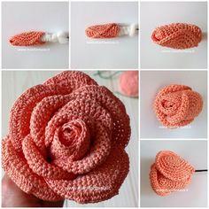 Hobbystica - Her Crochet Roses Au Crochet, Crochet Puff Flower, Crochet Flower Tutorial, Crochet Flower Patterns, Crochet Designs, Crochet Flowers, Rose Tutorial, Diy Crafts Knitting, Diy Crafts Crochet