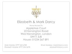 Chandelier themed change of address cards. Your new house might not have them, but your cards can!