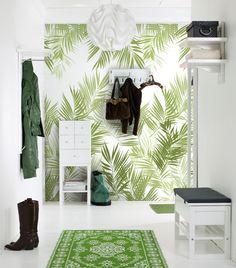 Varför bara en fondvägg? Jungle Leaves passar lika bra till alla rummets väggar!