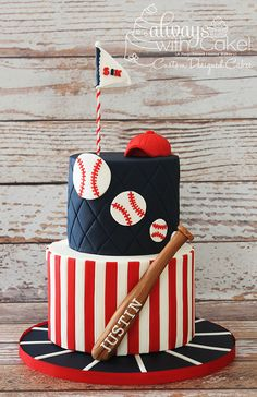 Love this baseball cake with a mini baseball bat. Baseball themed birthday party, baby shower or bar mitzvah Baseball Birthday Cakes, Baseball Cakes, Baseball Jerseys, Baseball Mom, Boy Birthday Cakes, Baseball Birthday Invitations, Travel Baseball, Baseball Videos, Baseball Fashion