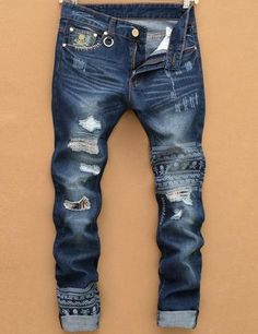 2016 new tearing denim men ripped jeans hip hop skull head straight slim balmai jeans men denim pants male trousers size 28-38