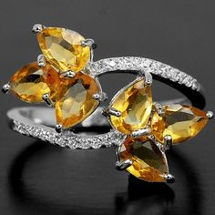 NATURAL AAA ORANGISH YELLOW CITRINE & WHITE CZ STERLING 925 SILVER RING SIZE 8 #FINENESS2009