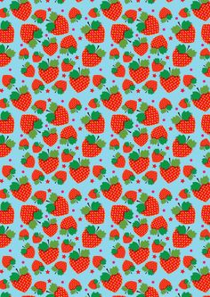 Strawberry surprise Art Print by Polkip Food Patterns, Pretty Patterns, Shape Patterns, Textures Patterns, Type Illustration, Pattern Illustration, Conversational Prints, Cool Wallpapers For Phones, Fruit Print
