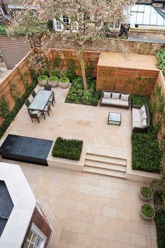 Ideas Concrete Patio Landscaping Ideas Flower Beds For 2019 Backyard Garden Design, Small Backyard Landscaping, Small Garden Design, Patio Design, Backyard Patio, Landscaping Ideas, Backyard Ideas, Small Patio, Patio Ideas
