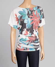 Another great find on #zulily! Red & Teal Floral Boatneck Top by Casa Lee #zulilyfinds