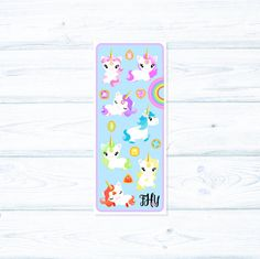 This sticker sheet is sold in our Jewel Magic Unicorn Set! This listing is for those who want the decorative sheet only! Sold per sheet, 15 stickers total. For size reference, unicorns measure approximately 1.5 tall by 1.5 wide. Please note that these are larger decorative stickers!  Decorative frame around unicorns, gems, and rainbow is NOT a sticker. ________________________________________________________________  *Our stickers feature original artwork designed by us, so they are one of…