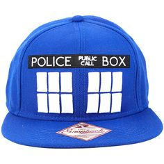 231d71927da Royal blue snapback hat from Doctor Who with TARDIS themed design featuring  an embroidered