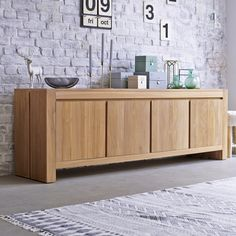 This beautiful solid wood sideboard, draws the eye because of the integrity of the wood finish. Solid Wood Sideboard, Teak Sideboard, Credenza, Teak Furniture, Living Room Furniture, Furniture Design, Wooden Sofa, Wooden Doors, Buffet Teck
