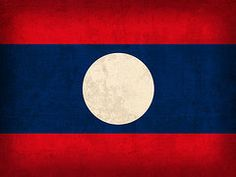Laos Flag Art - Laos Flag Vintage Distressed Finish by Design Turnpike