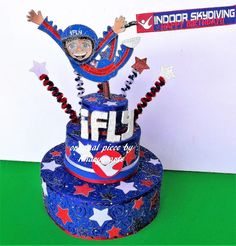 Skydiving party Birthday cake topper under roof