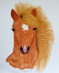 "20 Me gusta, 1 comentarios - May Meneses (@mayilm_watercolours) en Instagram: ""Caballo #watercolor #watercolour #acuarela #caballo #horse #winsorandnewton #cotman…"""