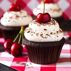 Mothers Day dessert, look no further! My Mom loved these cupcakes, and seriously who wouldn't? A chocolate cupcake with a cherry pie filling, topped with a...
