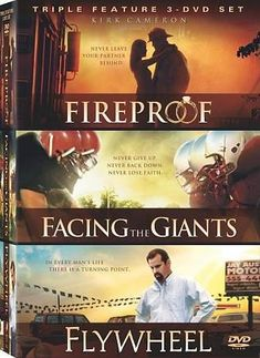 Fireproof / Facing the Giants / Flywheel (Triple Feature) - - Fireproof Kirk Cameron (Left Behind) stars as Caleb Holt, a heroic fire captain who values dedication and service to others above all else See Movie, Film Movie, Faith Based Movies, Facing The Giants, Christian Films, Christian Posters, Kirk Cameron, Inspirational Movies, Family Movies