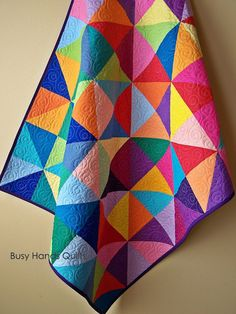 Postcard From Sweden Baby Quilt-Handmade Baby Quilt-Baby Quilts For Sale-Baby Shower Gift-Baby Girl Quilt- Rainbow Quilt by Busy Hands Quilts Patchwork Quilting, Scrappy Quilts, Easy Quilts, Owl Quilts, Patchwork Baby, Quilt Stitching, Quilting Projects, Quilting Designs, Quilting Ideas