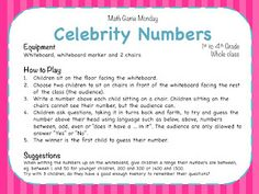 Teaching Maths with Meaning: Math Game Monday - Celebrity Numbers