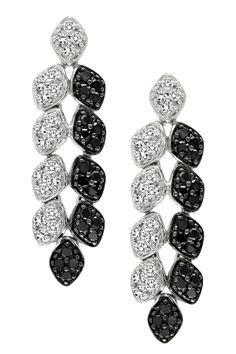 10K White Gold Black & White Diamond Leaf Earrings - 1.00 ctw