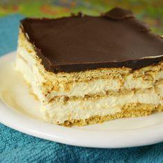 Chocolate-Éclair Icebox Dessert | MyRecipes.com.  Perfect make-ahead dessert that both adults and kids will devour.