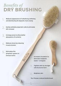 Dry Brush your way to glowing skin Spring Skin – Dry Brushing 101 – Thyme & Presence More from my siteProducts For Dry Skin Skin Care Regimen, Skin Care Tips, Skin Tips, Beauty Care, Beauty Hacks, Diy Beauty, Benefits Of Dry Brushing, Dry Brushing Skin, Skin Care Routine For 20s