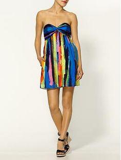 Milly Twist Watercolor Stripe Strapless Dress |