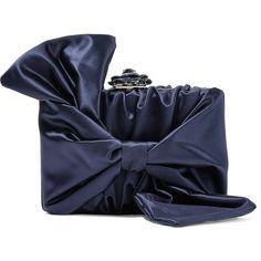 Oscar de la Renta Rogan bow-embellished satin clutch (€1.825) ❤ liked on Polyvore featuring bags, handbags, clutches, navy, navy handbags, navy blue handbags, rose handbag, clasp purse and navy purse