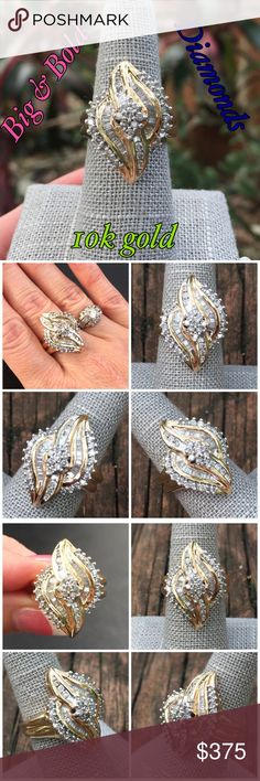 10k Gold Big & Beautiful Diamond Cluster Ring This is a Stunningly Beautiful, Big & Bold 10k Solid Yellow Gold 0.50 ctw Diamond Cluster Ring. Size 7.5. Marked 10k 1SDXS. Weighs 10 grams! The ring has 56 diamonds total, it in great condition w/ some minor surface scratches that can be buffed if desired consistent with wearing it. Treat yourself or buy as a gift for someone special! Please ask any questions b4 purchase. Thanks for looking. I ship same day. Please make REASONABLE offer using…