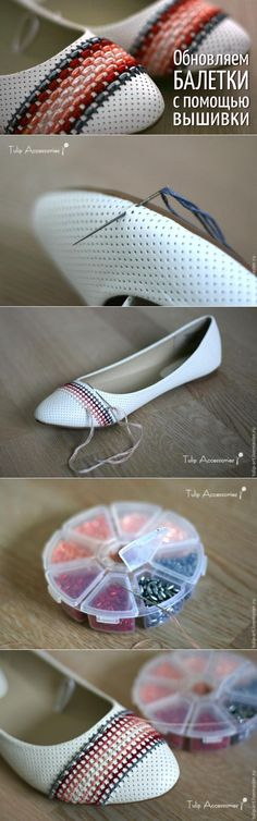 Different to the embroidered shoes but I still like it. Diy Clothes And Shoes, Diy Clothing, Shoe Crafts, Clothes Crafts, Shoe Makeover, Shoe Refashion, Flipflops, Shoe Pattern, Shoe Art