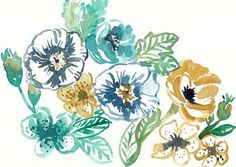 ORIGINAL WATERCOLOR PAINTING Blue and Gold WildFlowers   Size: 5x7 inches  Materials: 140lb coldpress watercolor paper, professional grade watercolor paints  -No frame included. Signed in ink on the back.  -Artist retains all copyrights to this artwork. Please do not reproduce.  See more here: Shop: https://www.etsy.com/shop/GrowCreativeShop Blog: http://growcreativeblog.com