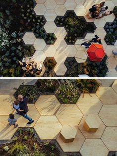 This urban garden, named Zighizaghi, is a multi-sensory garden made of two levels, a horizontal level, the hexagonal floor and seating area, and a vertical level, the lighting and sound systems. There's also numerous plants included in the design, like lemon trees and lavender. #landarch
