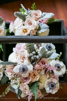 Vintage glam blush pink and white bouquet. Anemone, rose, astilbe, dahlia,fern, dusty miller. Photo by Meghan Sepe