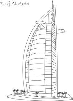 Burj Al Arab printable coloring page Building Drawing, Building Sketch, Building Art, Colouring Pages, Printable Coloring Pages, Coloring Pages For Kids, Coloring Books, Burj Al Arab, Desenhos Van Gogh