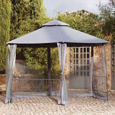 Complete with the trellis included, this steel frame gazebo is designed with sheer curtains to provide shelter and is easy to assemble.