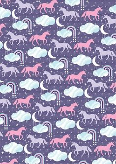 unicorn pattern 01 by Kat - TeamKitten, via Flickr #pattern #cuteness #unicorns