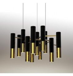 """Material: Metal Colours: Gold with black or Gold with white Dimensions: 600mm Diam. x  360mm High. x 1200mm drop Bulb: G9 halogen 25W max or LED x 13 Designer: Delightfull """"Lke"""" (2011) replica  Please Note: SELF-ASSEMBLY REQUIRED.  RRP: $819.00"""