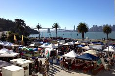 Just another beautiful day in San Francisco @ the Treasure Island Flea Market.  Million dollar views of the bay, city and Bay Bridge (and the Golden Gate Bridge too, although not in this pic). Lots of good eats and FAB shopping in the most picturesque venue.