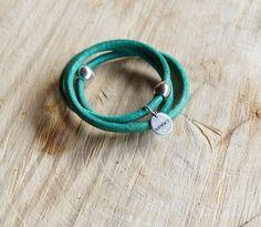 turquoise leren armband