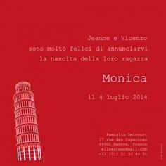 Faire-part de naissanceBilingue Italie-France by Louise Pianetti pour FairepartNaissance.fr #rosemood #atelierrosemood #birth #announcement