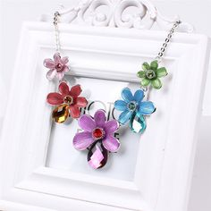 Fashion Colorful Flower Style Crystal Alloy Long Chain Enamel Jewelry Set for Women Ladies
