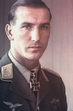 ✠ Erich Leie (10 September 1916 - 7 March 1945) killed over Drogomyśl, 20 km northeast of Cieszyn, when he collided with a Russian Yak 9 and failed to survive a low level bail-out.