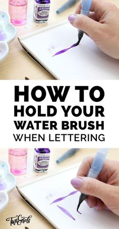 How to hold your waterbrush when lettering - Einfach Kreativ - Aquarell - Watercolor Hand Lettering, Brush Pen Calligraphy, Calligraphy Tutorial, Hand Lettering Tutorial, Learn Calligraphy, Water Brush Pen, Brush Pen Art, Watercolor Brush Pen, Creative Lettering