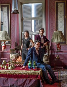 Gulgun at home with his nephew Burak and niece Begum. (Great family photo. LOVE the silk pleated lampshades!).