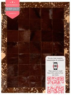 Dramatic and elegant, this #patchwork #cowhide #rug is uniquely designed with 8 inch square hide patches, #bordered with a 4 inch wide frame of #metallic splatter-painted #cowhide.