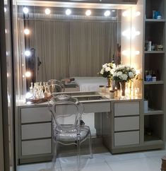 47 ideas walk in closet office ideas home Bedroom Closet Design, Girl Bedroom Designs, Home Decor Bedroom, Bedroom Dressing Table, Dressing Table Design, Sala Glam, Glam Room, Beauty Room, Dream Rooms