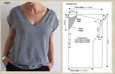 Japanese Sewing Patterns, Dress Sewing Patterns, Sewing Patterns Free, Clothing Patterns, Blouse Pattern Free, Top Pattern, Sewing Clothes, Diy Clothes, Look Fashion