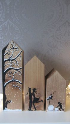 Wooden houses in winter atmosphere! Wood Block Crafts, Scrap Wood Projects, Wooden Crafts, Holiday Crafts, Home Crafts, Thema Deco, Wood Scraps, Driftwood Crafts, Wood Ornaments