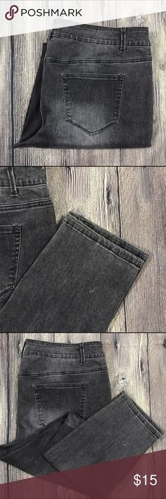 Maurices Skinny Gray jeans Plus Size 18 31 inseam Maurice Skinny Jeans In black/Gray Wash gentle used with no flaws Size 18 Laying Flat Measures 20 1/2 Rise measures 11 inches Inseam measures 31 inches  64% cotton 23% polyester  10% rayon 3% spandex Maurices Jeans Skinny