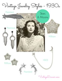 1930s jewelry. Stars and moon shapes became popular in the 1920s, but continued in popularity through to the early 1940s - as the 1941 film Ziegfeld Girl demonstrates. Shop VintageDancer.com/1930s