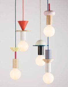 "Geometric coloured timber components stack to create quirky pendant lights. ""Modular geometric pendant lights by the northern-German design studio Schneid"". Blitz Design, Geometric Pendant Light, Style Deco, Luminaire Design, Deco Design, Design Trends, Design Ideas, Lighting Design, Kids Lighting"
