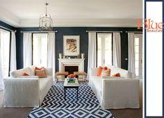 blue white living room traditional chic chevron carpet rug