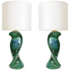 Pair of Peacock Glazed Ceramic Lamps