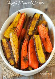 These flavorful and colorful carrots are wonderful to compliment your meals. The combination of cardamom and thyme with maple syrup give a sweet and robust taste. Ingrediennts: 1 pound carrots, peeled 2 tablespoons olive oil 2 tablespoons maple syrup pinch cardamom 2 sprigs thyme (use leaves only, discard stalk) 1/2 teaspoon sea salt  Directions: …